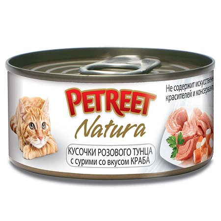 Корм влажный для кошек Petreet 70г кусочки розового тунца с крабом сурими консервированный