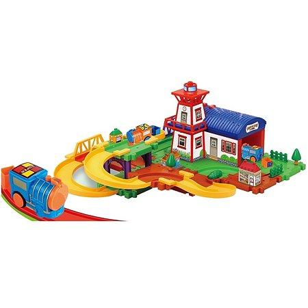 Железнодорожный набор Devik Toys поезд и вертолет в комплекте(свет-звук)