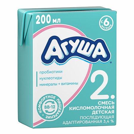 Смесь Агуша 2 сбалансированная кисломолочная 3.4% 0.2л с 6месяцев