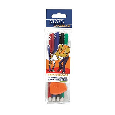 Шариковые ручки 4 шт TRATTO CANCELLIK Пиши-стирай+ ластик
