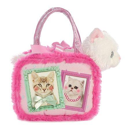 Мягкая игрушка Aurora Белая кошка в сумке-переноске