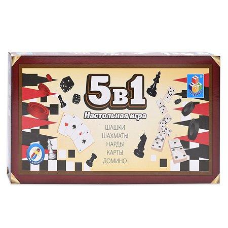 Игра 5 в 1 1TOY шашки, шахматы, нарды, карты, домино
