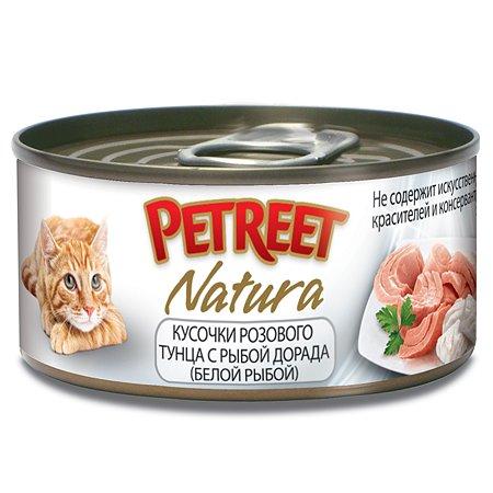 Корм влажный для кошек Petreet 70г кусочки розового тунца с рыбой дорада консервированный