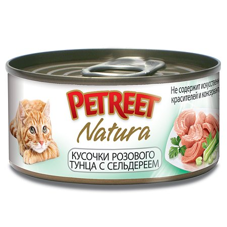 Корм влажный для кошек Petreet 70г кусочки розового тунца с сельдереем консервированный