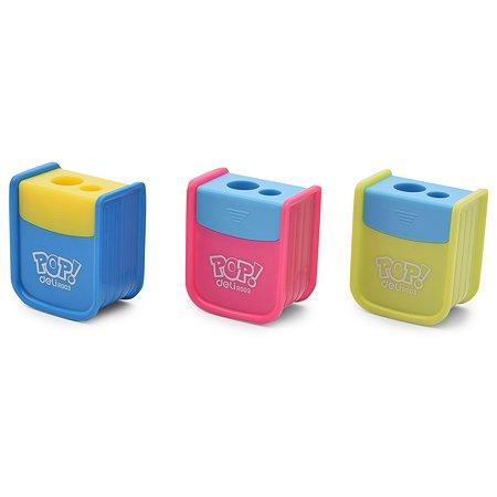 Точилка Deli Pop 2 отверстия с контейнером в ассортименте