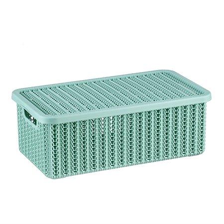 Коробка IDEA Вязание с крышкой 6л Фисташковая
