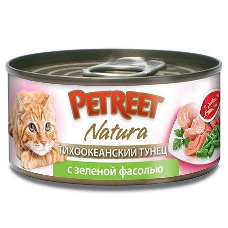 Корм влажный для кошек Petreet 70г кусочки тихоокеанского тунца с зеленой фасолью в рыбном бульоне консервированный