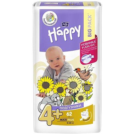 Подгузники Bella baby Happy Baby Happy Maxi Plus 4+ 9-20кг 62шт