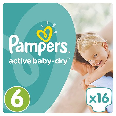 Подгузники Pampers Active Baby-Dry 15+кг 16шт
