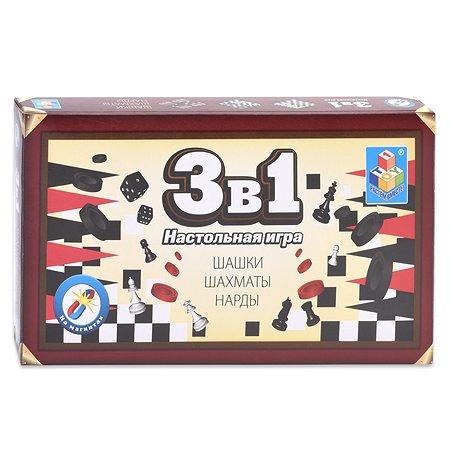 Игра 3 в 1 1TOY магнитные шашки, шахматы, нарды