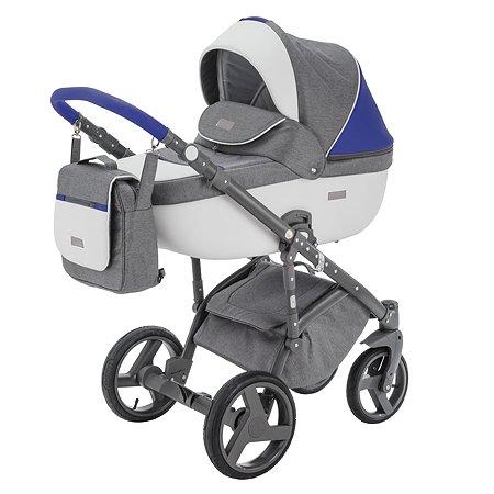 Коляска 2в1 BeBe-mobile Ravenna Sport V103 Темно-серый+Белая кожа+Синяя кожаная отделка