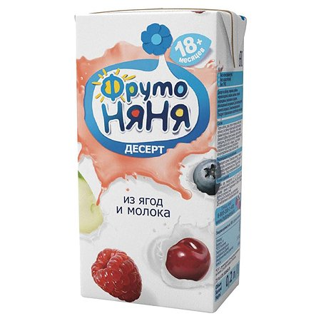 Десерт ФрутоНяня из молока и фруктов 0,2 л с 18 месяцев