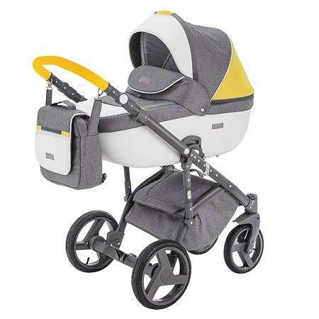 Коляска 2в1 BeBe-mobile Ravenna Sport V105 Темно-серый+Белая кожа+Желтая кожаная отделка