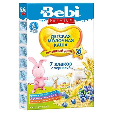 Каша Bebi Premium молочная 7 злаков с черникой 200г с 6месяцев