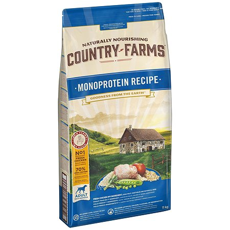 Корм для собак Country Farms Monoprotein с курицей 11кг