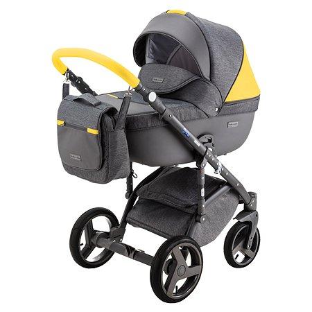 Коляска 2в1 BeBe-mobile Ravenna Sport V115 Серый+Серая кожа+Желтая кожаная отделка