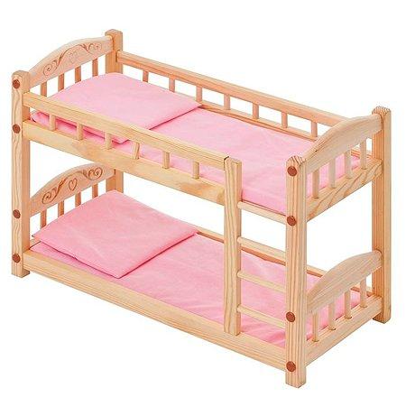 Кроватка PAREMO двухъярусная кукольная Розовая PFD116-04