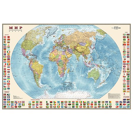 Политическая карта мира Ди Эм Би 1:40 млн с флагами 90x58 см (ламин.)