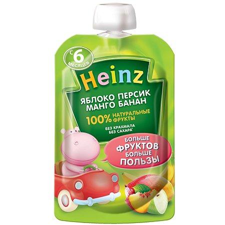 Пюре Heinz яблоко-персик-манго-банан пауч 90г/100г с 6месяцев
