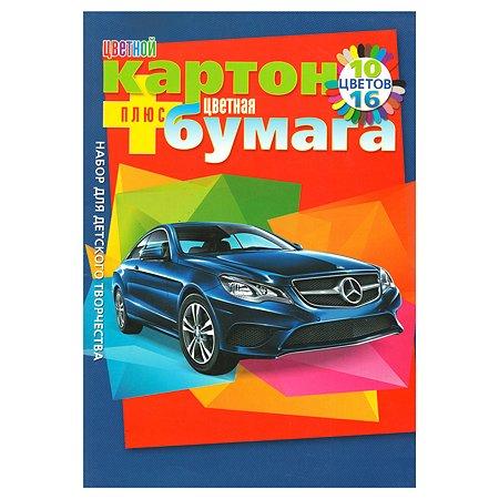 Набор Hatber цветного картона и цветной бумаги Автопанорама А4 на клею 10 цветов+16 цветов