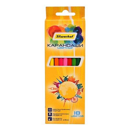 Карандаши цветные Silwerhof Солнечная коллекция 18цветов 1107919