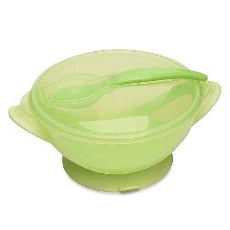Тарелка Baby Go с присоской+крышка+ложка Green D2-0611