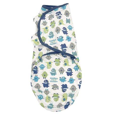 Конверт для пеленания Summer Infant SwaddleMe Маленькие монстры на липучке SM Синий