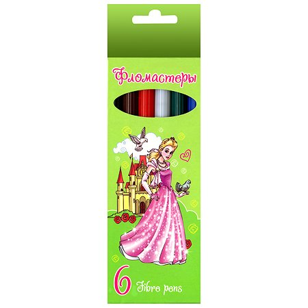 Фломастеры Hatber VK Мои принцессы 6 цветов