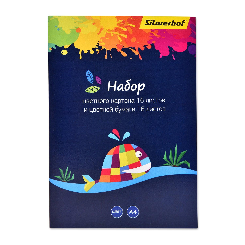 Набор картона и бумаги Silwerhof А4 8цветов 32л 1102737