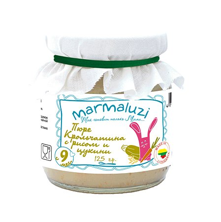 Пюре Marmaluzi кролик-рис-цукини 125г с 9месяцев