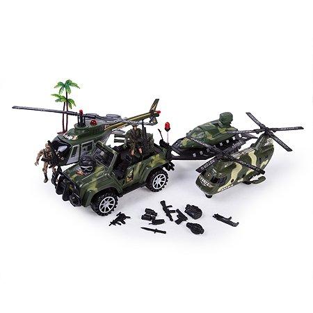 Набор Global Bros джип с прицепом вертолет