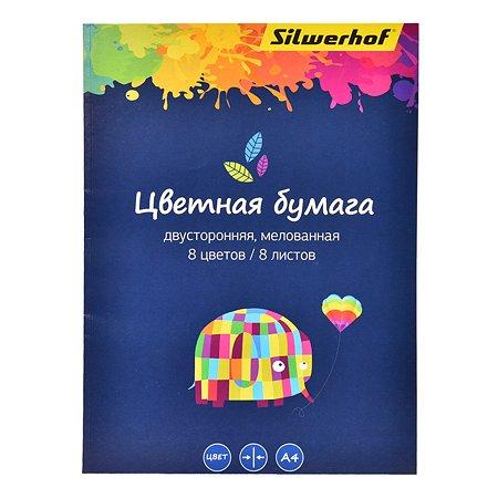 Бумага Silwerhof А4 2сторонняя мелованная 8цветов 8л 1102713