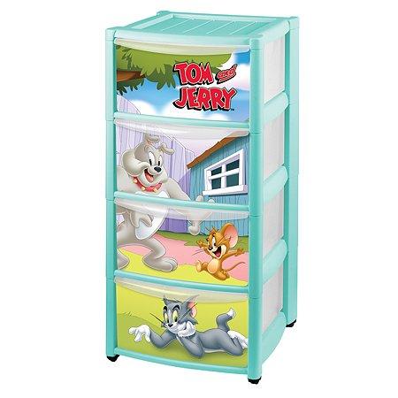 Комод Пластишка Tom and Jerry на колесах 4 ящика с аппликацией Бирюзовый