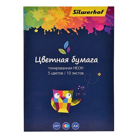 Бумага Silwerhof А4 неоновая тонированная 5цветов 10л 1102726