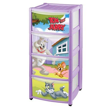 Комод Пластишка Tom and Jerry на колесах 4 ящика с аппликацией Сиреневый