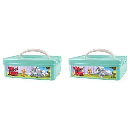 Коробка Пластишка Tom and Jerry универсальная с ручкой и аппликацией Бирюзовая