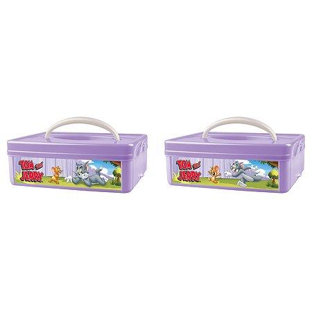 Коробка Пластишка Tom and Jerry универсальная с ручкой и аппликацией Сиреневая