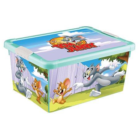 Ящик Пластишка Tom and Jerry универсальный с аппликацией Бирюзовый