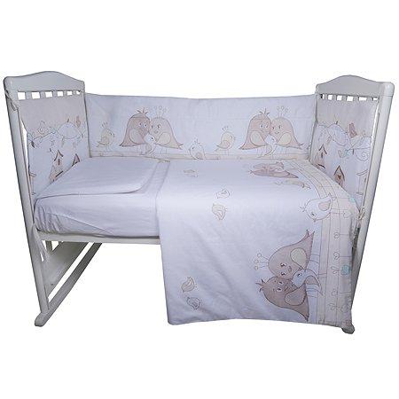 Комплект постельного белья Эдельвейс Птички 4предмета Бежевый 10491