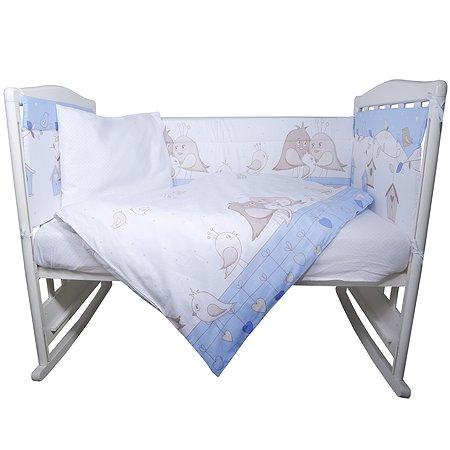 Комплект постельного белья Эдельвейс Птички 4предмета Голубой 10491