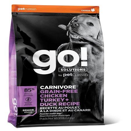 Корм для собак GO всех пород пожилых беззерновой индейка-курица-лосось-утка 5.45кг
