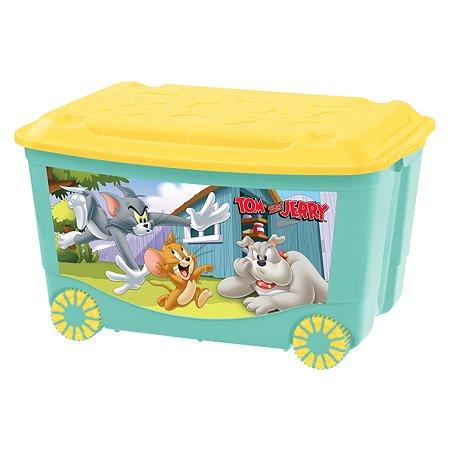 Ящик для игрушек Пластишка Tom and Jerry на колесах с аппликацией Бирюзовый