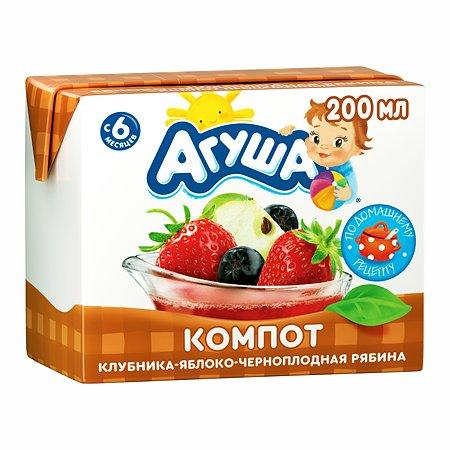 Компот Агуша яблоко-клубника-рябина черноплодная 0.2л с 6месяцев