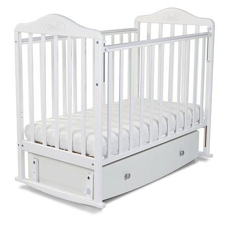 Кровать Наша Мама Джулия  с попер.маятником и ящиком цв.белый