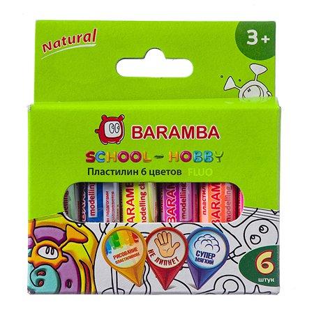 Пластилин Baramba на натуральной основе флуоресцентный 6 шт