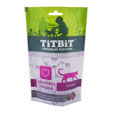 Лакомство для кошек TITBIT Хрустящие подушечки для здоровья сердца с мясом индейки 60г