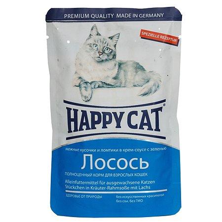 Корм влажный для кошек Happy Cat 100г соус лосось ломтики пауч