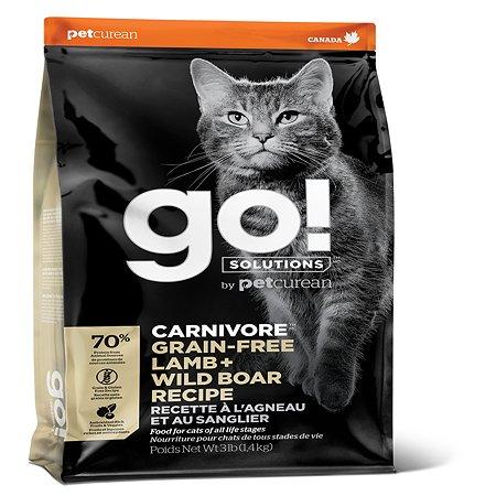 Корм для котят и кошек GO беззерновой с ягненком и мясом дикого кабана 1.36кг