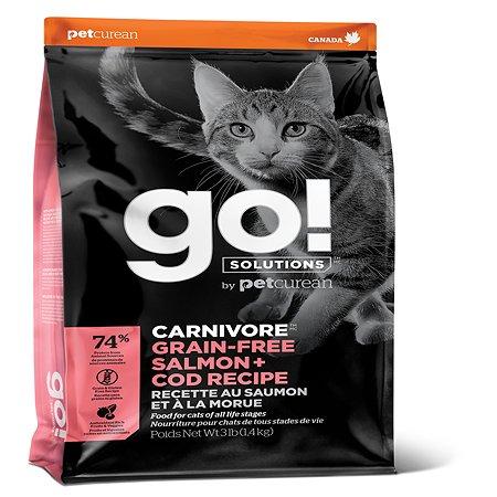 Корм для котят и кошек GO беззерновой с лососем и треской 1.36кг