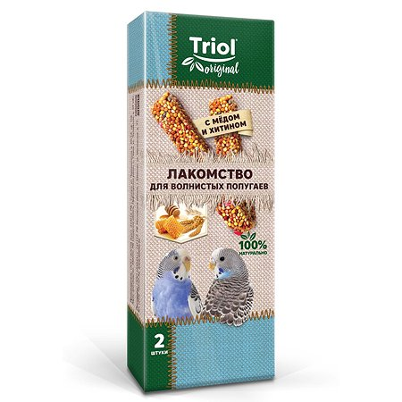 Лакомство для попугаев Triol Original волнистых с медом и хитином 2шт 55г